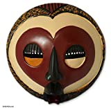 NOVICA Decorative Ghanaian Sese Wood Mask, Red, 'A Good Heart'