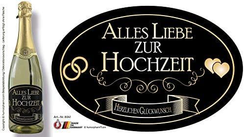 """""""Alles Liebe zur Hochzeit"""" Aufkleber Flaschenetikett Etikett oval gold elegant"""