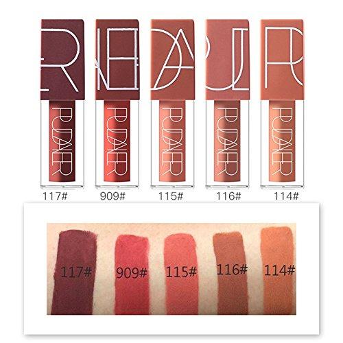 5 Colors Matte Lipstick Set, Long Lasting Velvet Lips Tint Liquid Lipstick Waterproof Lipstick Makeup 5pcs/kit