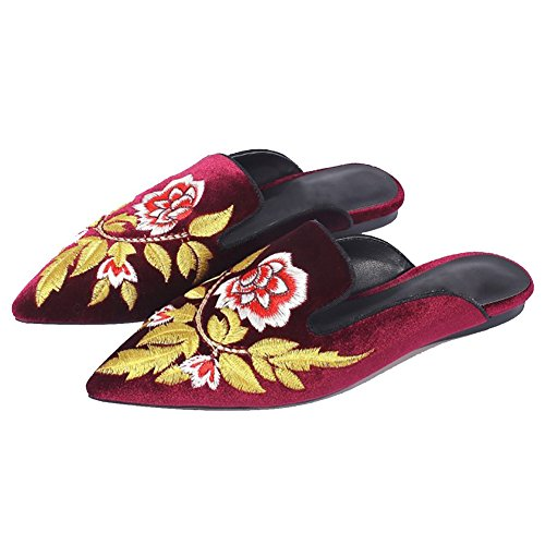 flower Nedal Loafers Slip Casual Women's Velvet Mule On Red PxT81nPHp