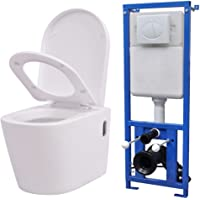 vidaXL Toilette Murale avec Réservoir Céramique Blanc Caché Cuvette WC