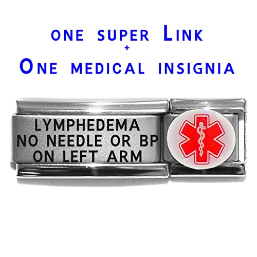 lymphedema-no-needle-or-bp-on-left-arm-dolceoro-italian-charm-medical-id-modular-enamel-super-link