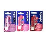 Labello Soft Rose, Labello Watermelon Shine, Labello Cherry Shine Lip Balm Bundle