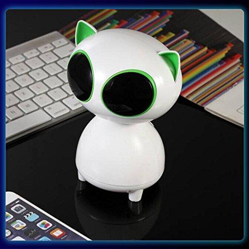 Cat USB Speaker- Wired Speaker 2.0 Channel Small Computer Desktop phone Speaker for PC, Echo Dot, Updated Version- WEIYATS (green) by WEIYATS (Image #3)