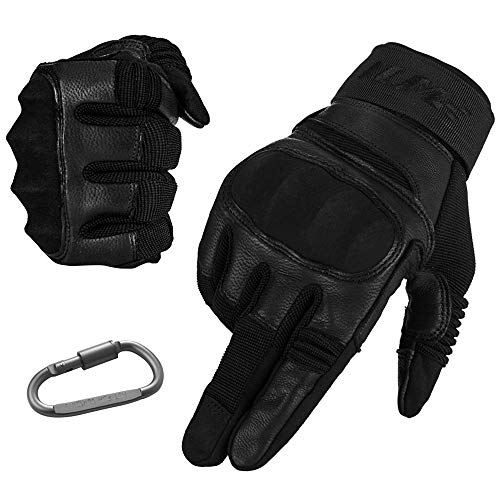 (ILM Tactical Gloves Men Touchscreen - Military Mechanic Hunting Shooting Combat Airsoft Heavy Duty Knuckle Gloves Motorcycle Cycling ATV MTV (XL, Black))