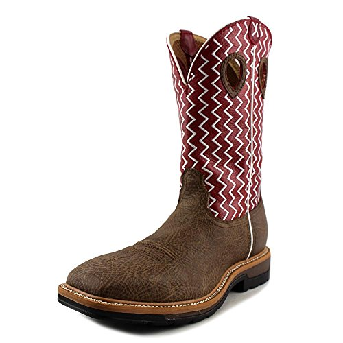 Mens Distressed Leather Cowboy Boots - Twisted X Mens Red Leather Distressed 12in Lite Weight Cowboy Work Boots 10.5D