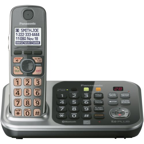 Panasonic KX-TG7741SDECT 6.0 Link-to-Cell via Bluetooth Cordless Phone with Answering System, Silver, 1 ()