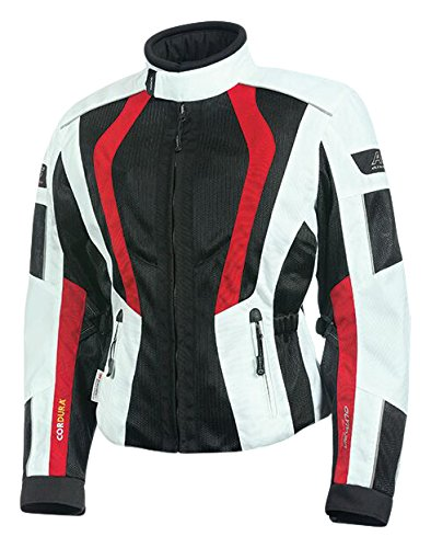 Ivory//Black//Red, XXX-Large Olympia Moto Sports WJ411 Womens Airglide 5 Mesh Tech Jacket
