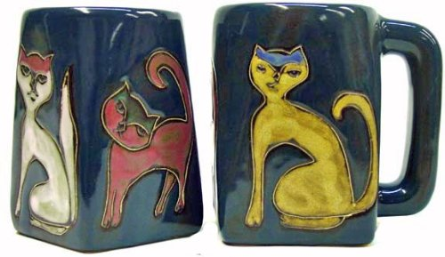 One (1) MARA STONEWARE COLLECTION - 12 Oz Coffee Cup Collectible Square Bottom Blue Dinner Mug - Kitten Cats ()