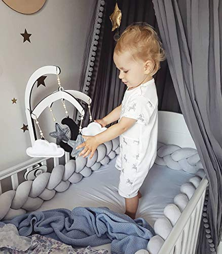 MOMAID Baby Braided Crib Bumper Knotted Plush Soft Nursery Toddler Crib Bedding Sets Decor Handmade Cradle Newborn Pillow Snuggle Sleep Bed Pads (Gray, Long:4M / 157INCH)