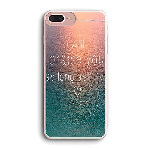 Price comparison product image iPhone 7 Case Christian Bible Verses Inspirational Motivational Psalm 63:4 Sunset Ocean I Will Parise You As Long As I Live Bumper Side iPhone 7 Case