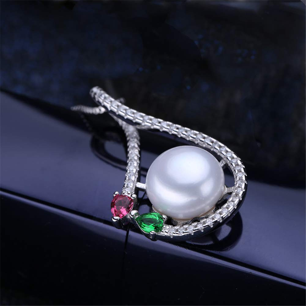 GLEENECKLAC Flower Pearl Necklace and Pendant Pearl Jewelry Red Green Stone Flower Necklace Female