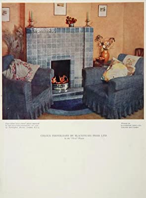 1934 Living Room Fireplace Mantel Armchairs Color Print   Original Print