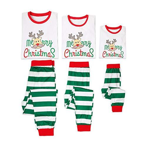 Family Matching Christmas Pajamas Set, Striped Pajama Pants Christmas Reindeer Print PJS Set Sleepwear Nightwear for Men Women Kids (Kid/70 (2T)) for $<!--$19.99-->