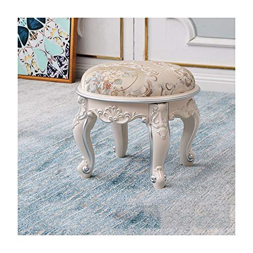 Mini Stool Round - LIAN-footstools European Coffee Table Stool Fabric Small Stool Home Living Room Children Mini Bench Carved Round Leather Bench for Shoes Bench (Color : A)