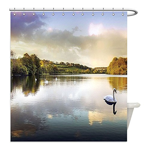 Swan Lake Costume Diy (Liguo88 Custom Waterproof Bathroom Shower Curtain Polyester Cottage Decor Collection Swans Resting On A Lake Covered By Forest In The Scottish Highlands Decorative bathroom)