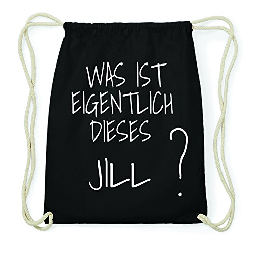 JOllify JILL Hipster Turnbeutel Tasche Rucksack aus Baumwolle - Farbe: schwarz Design: Was ist eigentlich