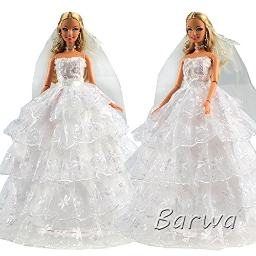Bride Doll Clothes (Barwa White Bride Wedding Gown Dress with Veil Princess Evening Party Clothes Dressing for Barbie Doll)