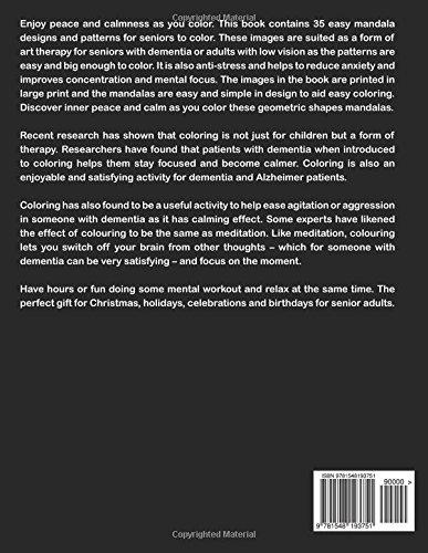 Amazon Large Print Mandala Coloring Book For Seniors Easy Mandalas In Adults With Low Vision And Dementia 9781548193751 Carl