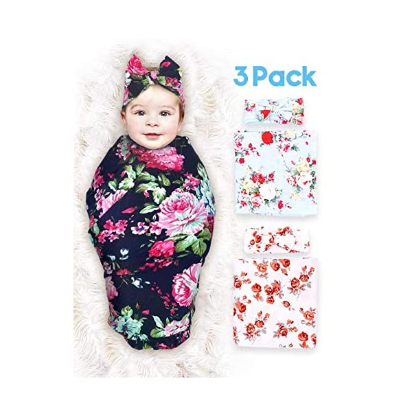 3 Pack Baby Swaddle Blanket Newborn Baby Wrap Organic Bamboo Swaddle Receiving Blankets with Headband for Baby Boys Girls Unisex
