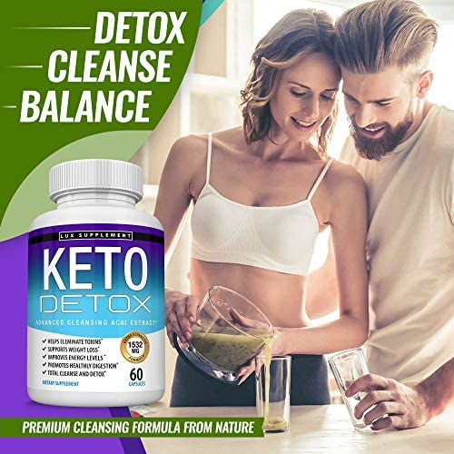 Keto Detox Pills Advanced Cleansing Extract – 1532 Mg Natural Acai Colon Cleanser Formula Using Ketosis & Ketogenic Diet, Flush Toxins & Excess Waste, for Men Women, 60 Capsules, Lux Supplement 7