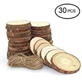 UoUo 30 Pcs 2.0''-2.75'' Natural Wood Slices Round Unfinished Predrilled Tree Bark Log Discs with 49 Feet Jute Twine for DIY Ornaments Easter/Party Decoration