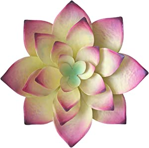 SFEDNYI 14 Inch Large Metal Succulent Flower Wall Decor Art Wall Sculptures Hanging for Garden Office Home Handmade Gift for Indoor or Outdoor(Yellow)