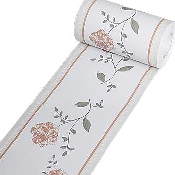 Borde del papel pintado amarillo Auto Adhesivo del Papel Pintado del PVC Cenefa autoadhesiva para decoraci/ón de pared de cocina ba/ño