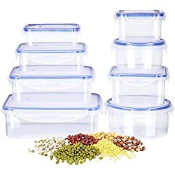 Deik Food Storage Containers Set, Lunch Box Set BPA Free, Plastic Containers with Snap Locking Lid and Air Tight Seal, Durable Microwaveable, Dishwasher Safe, 16 Piece Set