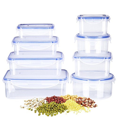 Deik Food Storage Containers, Lunch Box, Plastic Containers with Snap Locking Lid, BPA-Free, Microwave, Freezer, Dishwasher Safe, 8 Pack