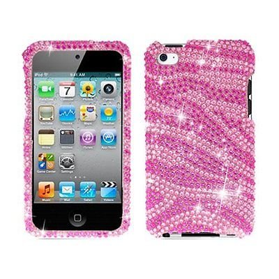(Bling Rhinestone Protector Case for iPod Touch 4th Gen - Zebra Pink/Hot Pink)