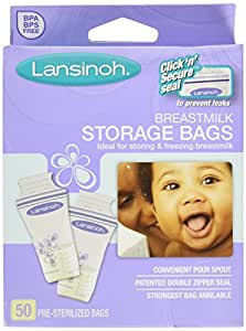 LANSINOH BREASTMILK STRGE BAGS 50 CT (3 pack)