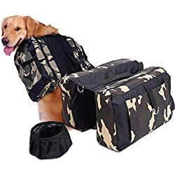(L)Dog Pet Backpack Saddle Bag Camping Hiking Outdoor Travel + Foldable Water Bowl