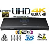 SAMSUNG K8500 UHD - 2D/3D - Wi-Fi - Dual HDMI - 2K/4K - Region Free Blu Ray Disc DVD Player - PAL/NTSC - USB - 100-240V 50/60Hz for World-Wide Use & 6 Feet Multi System 4K HDMI Cable