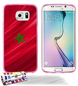"""Carcasa Flexible Ultra-Slim SAMSUNG GALAXY S6 EDGE de exclusivo motivo [Marruecos Bandera] [Rosa] de MUZZANO  + 3 Pelliculas de Pantalla """"UltraClear"""" + ESTILETE y PAÑO MUZZANO REGALADOS - La Protección Antigolpes ULTIMA, ELEGANTE Y DURADERA para su SAMSUNG GALAXY S6 EDGE"""