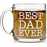 Shop4Ever Best Dad Ever Novelty Glass Coffee Mug Tea Cup Gift ~ Father's Day ~ (13 oz., Clear)