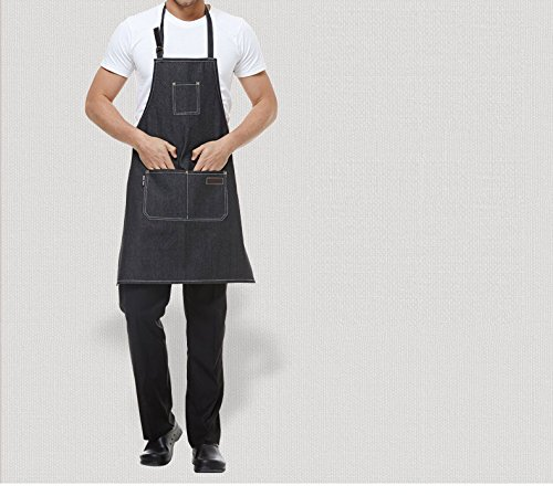 Lqchl Cooking Kitchen Work Beauty Salon Apron For Jeans Waitress Chef Man Women Shop Kitchen Cooking Cupcake Barbecue Denim Apron ()