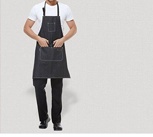 Lqchl Cooking Kitchen Work Beauty Salon Apron For Jeans Waitress Chef Man Women Shop Kitchen Cooking Cupcake Barbecue Denim Apron ()