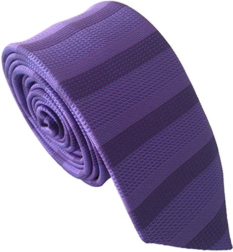 (Men's Skinny Tie - Purple Horizontal Stripe)