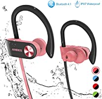 Bluetooth Headphones,Anbes Wireless Earbuds, IPX7 Waterproof in-Ear Earphones Sports with Ear Hooks & Mic, HD Stereo...