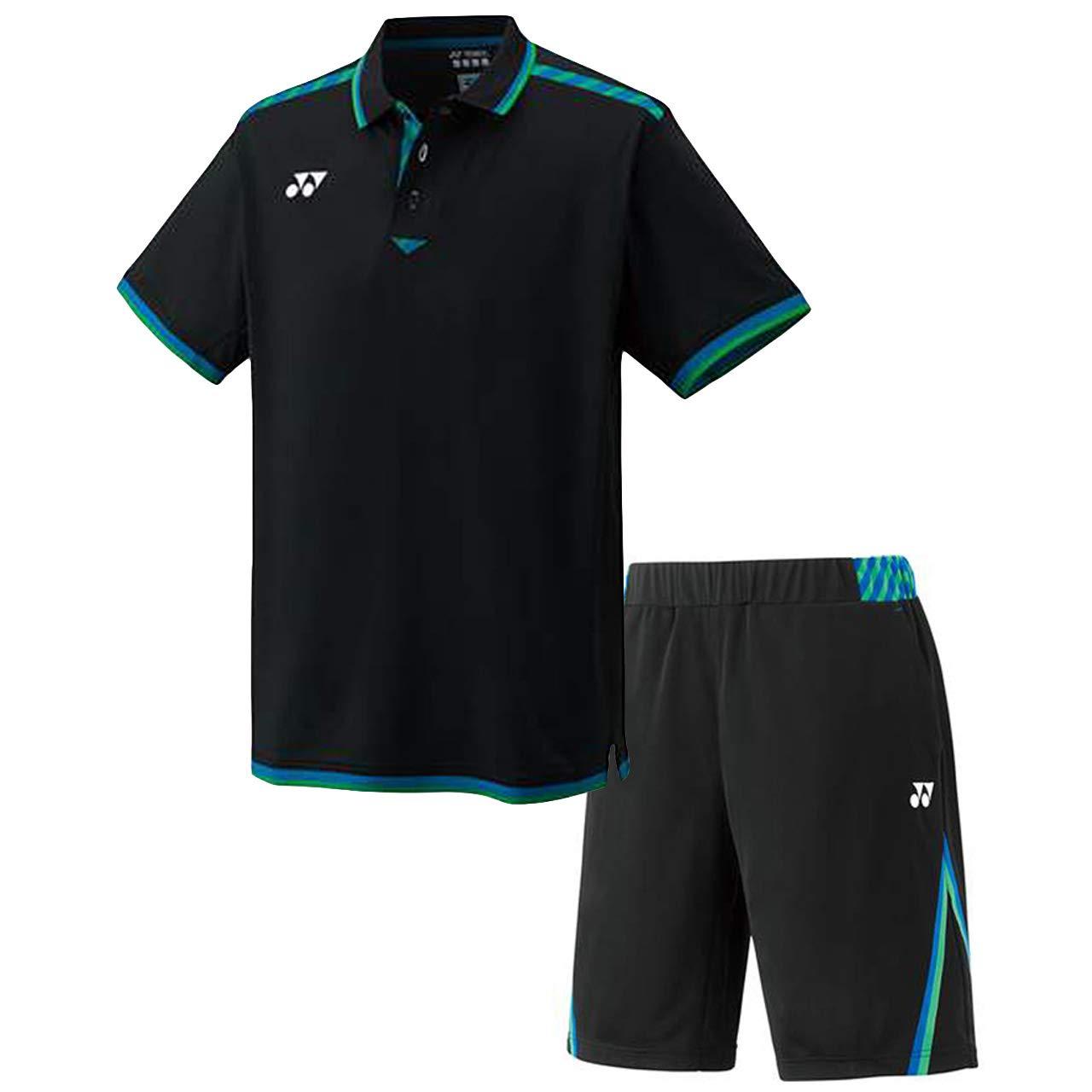 ヨネックス(YONEX) ゲームシャツ(フィットスタイル)&ニットハーフパンツ上下セット(ブラック/ブラック) 10250-007-15066-007 B07JZKZRLP ブラック/ブラック S