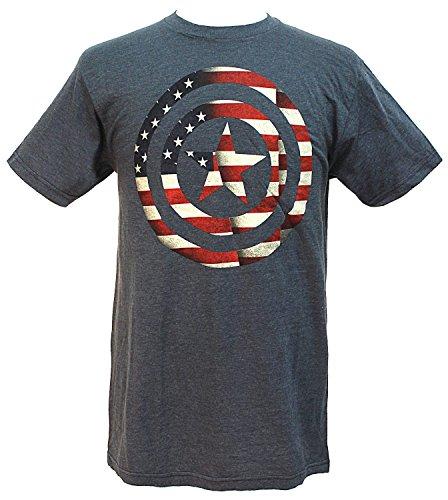 Marvel Comics Men's Captain America Flag Shield T-Shirt (Large) Civil War Clothing Women