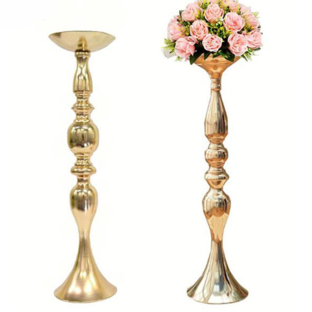 10pcs/lot Gold Metal Candle Holders 20'' Stand Flowers Vase Candlestick Road Lead Candelabra Centre Pieces Wedding Decoration