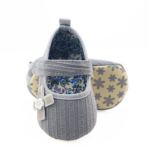 Clode® Kleinkind Mädchen Bogen Blumenkrippe Schuhe weiche alleinige Anti Rutsch Turnschuhe Grau