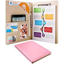 Plinrise Waterproof Shine PU Leather File Folder, Tight Metal Clip File Folder, For Letter Size Papper Writing Pad ,Perfect Office Folio Organizer & Professional Documents (Pink)