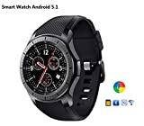 Imillet Smart Watch Cell Phone MTK6580 Quad Core 3G WIFI GPS Heart Rate Monitor Smartwatch All-in-One (Black) (Android 5.1)