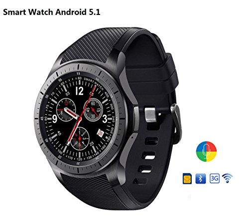 Imillet Smart Watch Cell Phone MTK6580 Quad Core 3G WIFI GPS Heart Rate Monitor Smartwatch All-in-One (Black) (Android 5.1) by Imillet