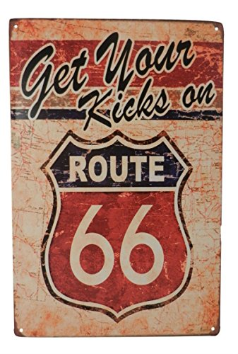 USA Route 66 Get Your Kicks Car Gas Tin Sign Bar Cafe Diner Garage Wall Decor Retro Metal Art Poster - Route 66 Sign