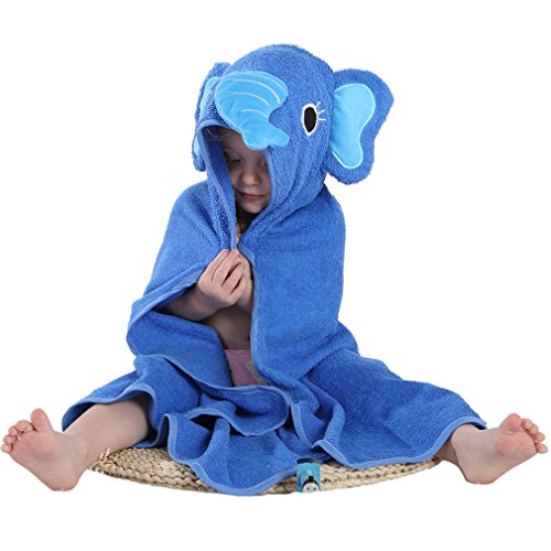 MICHLEY Animal Face Hooded Baby Towel Cotton Bathrobe for Boys Girls 0-6 Year Blue]()