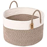 INDRESSME Cotton Rope Basket | Extra Large Woven Hamper Basket with Handles Nursery Storage Baby Laundry Basket Rope Storage Bin for Organizer Toys, Pillow 20'D x 13'H